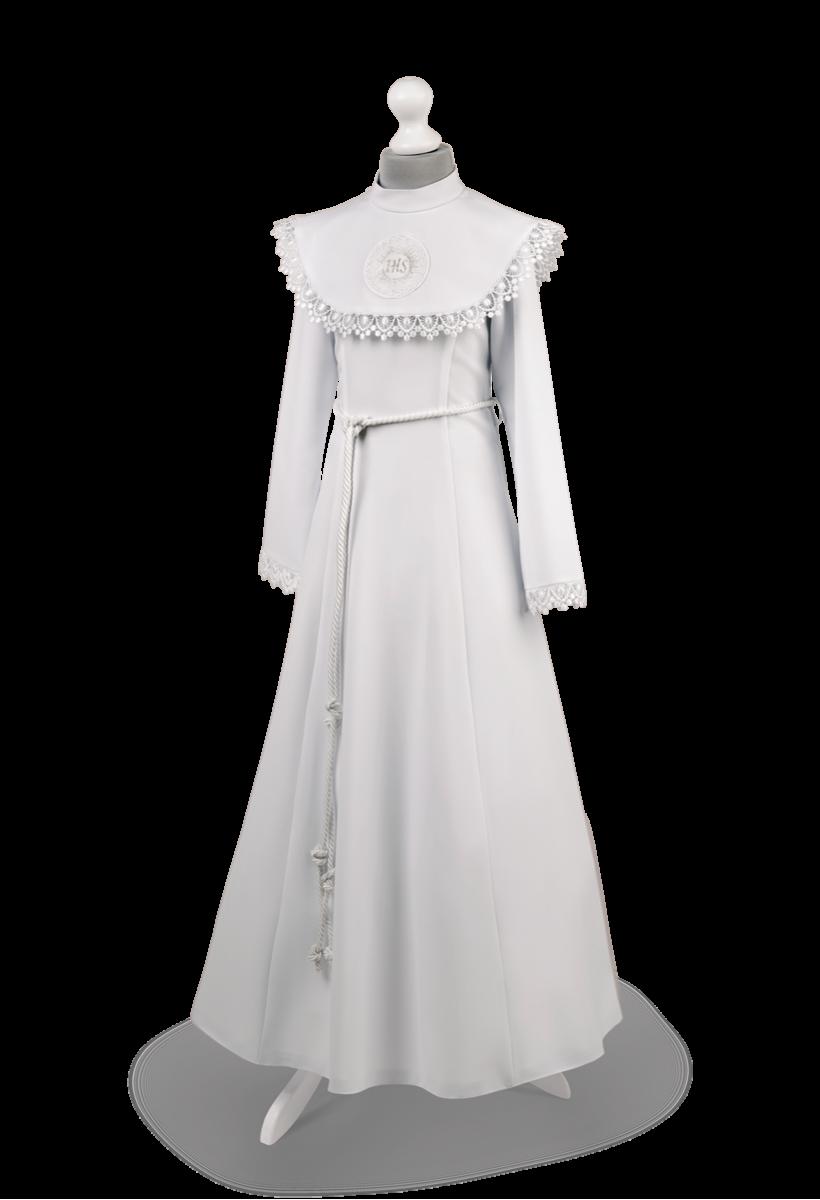 Sukienka komunijna kołnierz zdobiony gipiurą Celinka BI-026