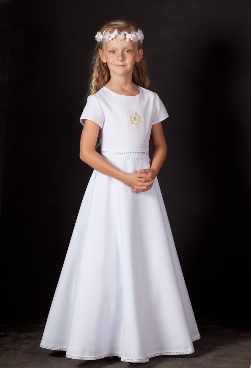 sukienka komunijna ze złotymi aplikacjami