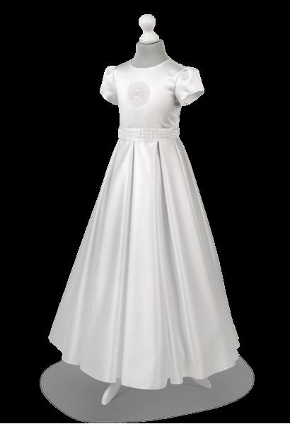 Perełki są delikatnym zdobieniem w sukience komunijnej  Elza BI-028