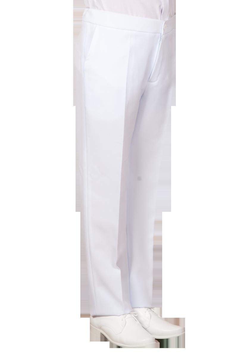 Białe stretchowe spodnie do Komunii Świętej.