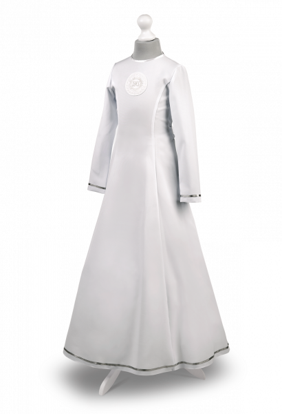 Sukienka komunijna ze złotą tasiemką Celinka Zł-068