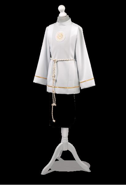 Klasyczny ubiór dla chłopca do pierwszej komunii ze złotym zdobieniem Bartosz ZŁ-001