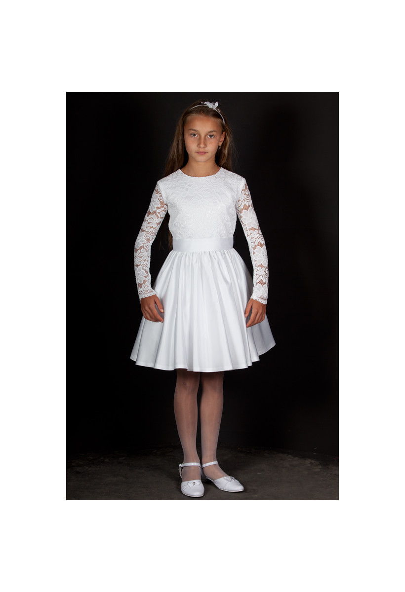 Krótka sukienka na przebranie- połączenie koronki z satyną Maja BI-027.