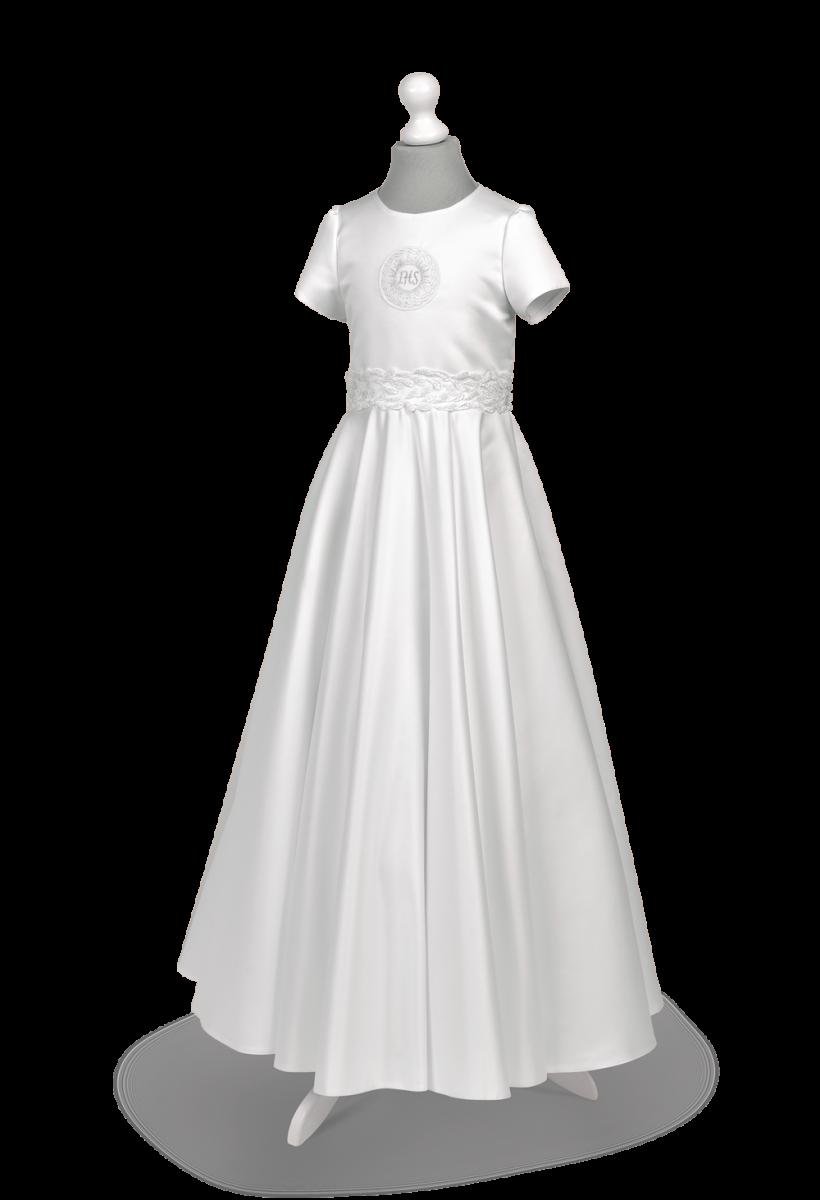 Satynowa sukienka komunijna z efektownymi zdobieniami Alicja Zł-136.