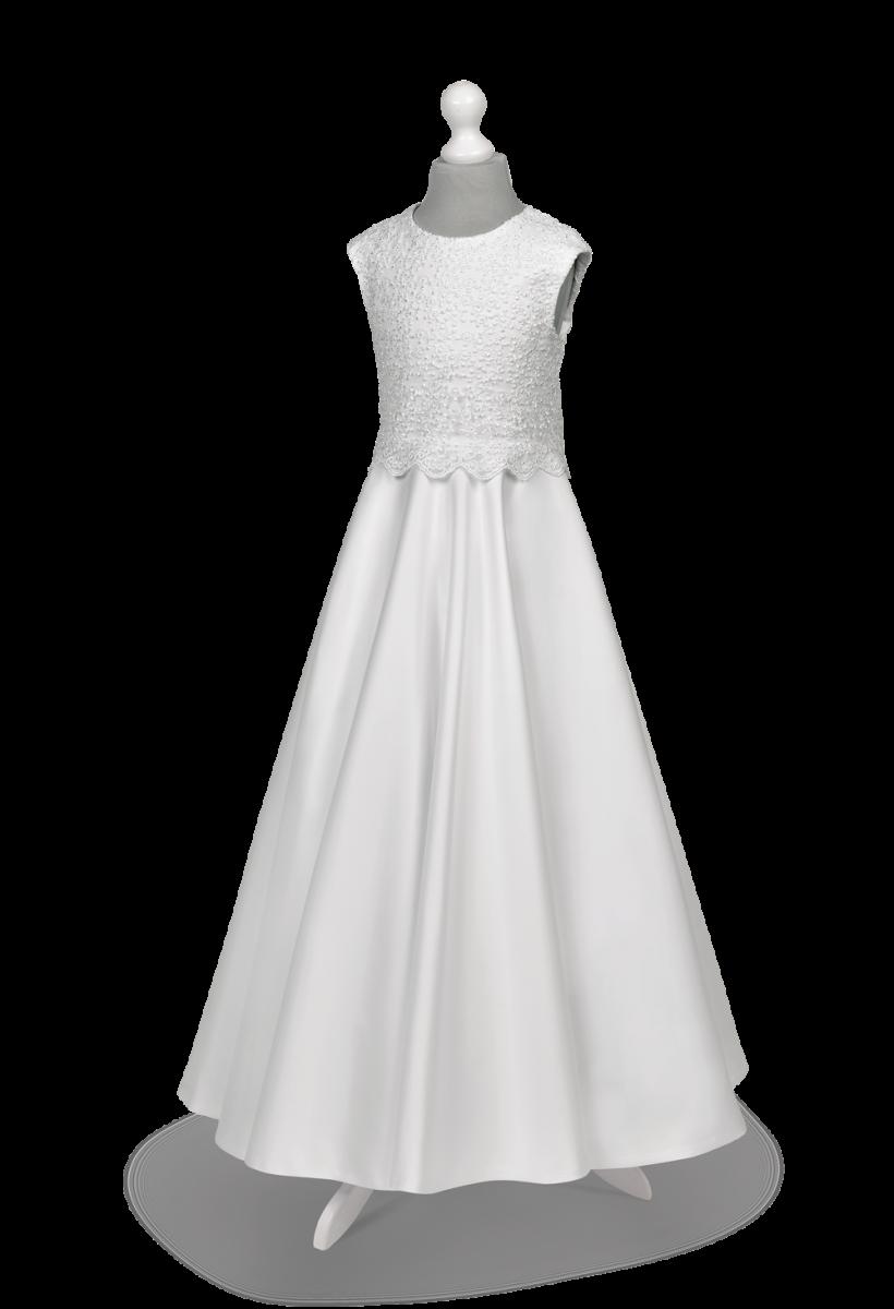 Sukienka komunijna Alicja BI-138 - połączenie satyny i koronki.