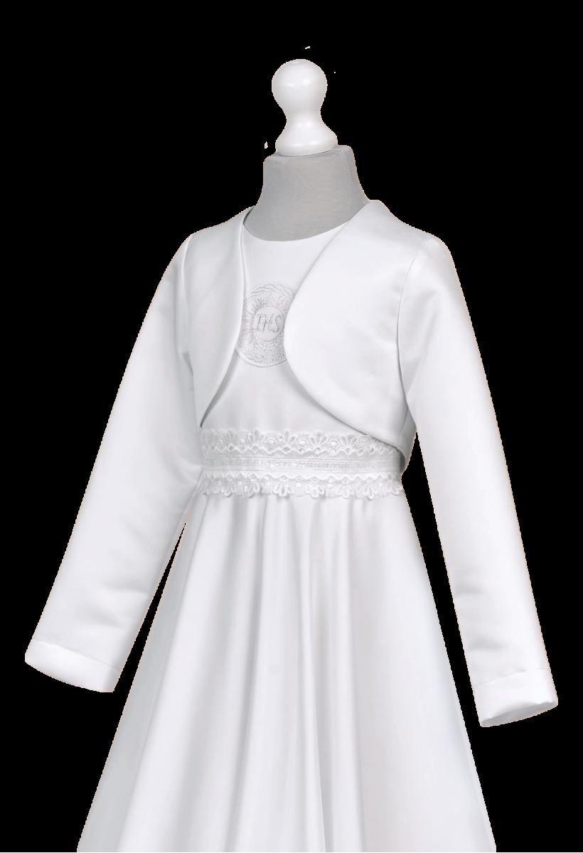 Satynowe bolerko -idealne wykończenie stroju komunijnego.