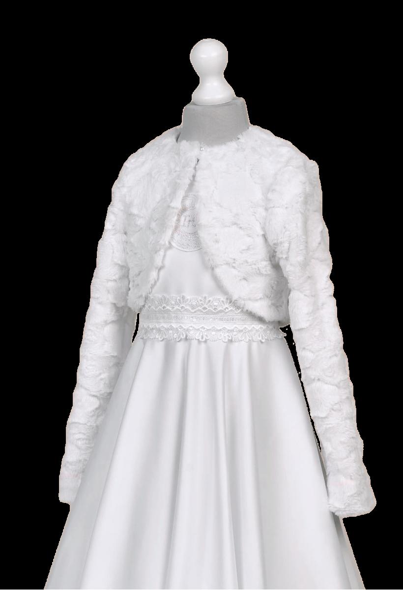 Bolerko futerko - cieplejsza opcja dla sukienek komunijnych.