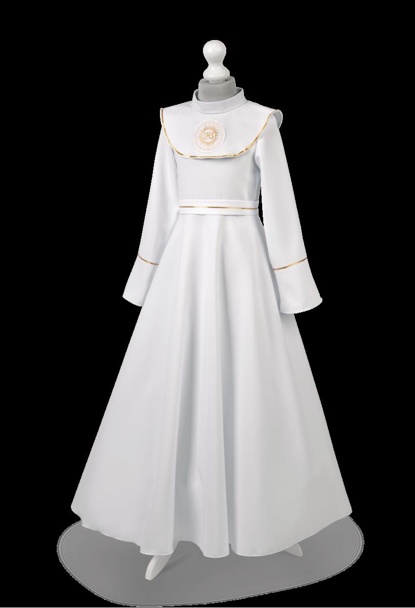 Sukienka do komunii w wersji z kołnierzem to model Zuzia ZŁ-049