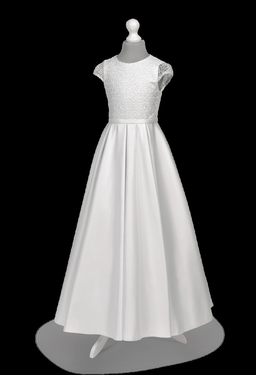 Matowa satyna na sukni komunijnej w modelu Elza BI-141