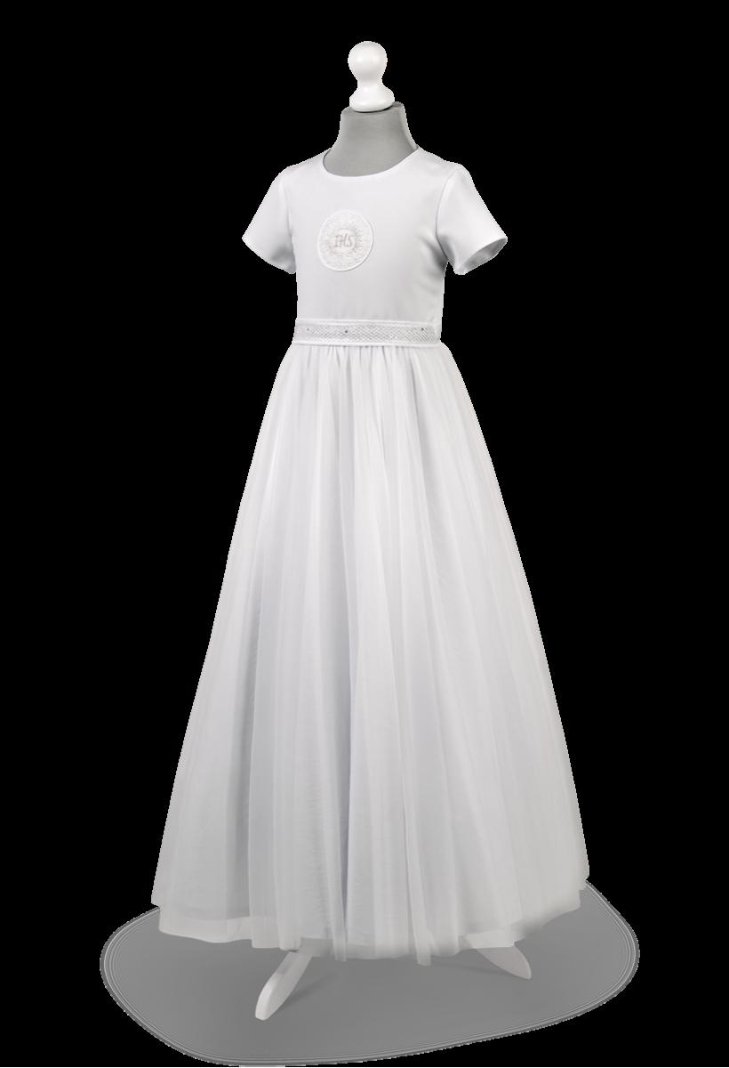 Sukienka komunijna princeska zdobiona srebrem w pasie Tosia SR-025