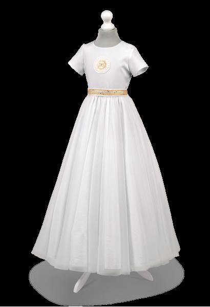 Sukienka komunijna z IHS i zdobieniem w kolorze złota Tosia ZŁ-025