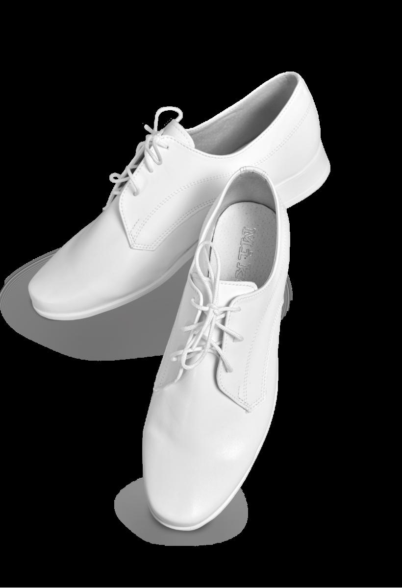 Chłopięce buty komunijne, białe, sznurowane, skórzane