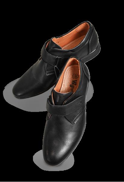 Chłopięce buty komunijne, czarne, na rzep