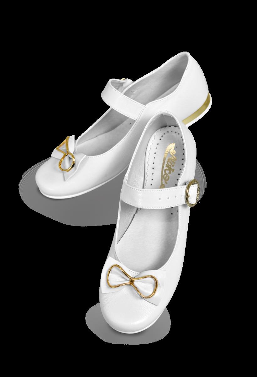 Dziewczęce buty komunijne z paseczkiem, złote