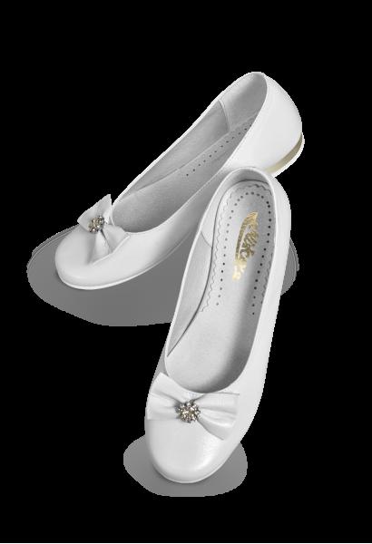 skórzane buty komunijne zdobione na srebrno