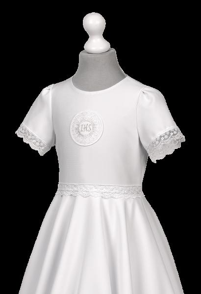 komunijna sukienka ze streczu z koronką kwiatową