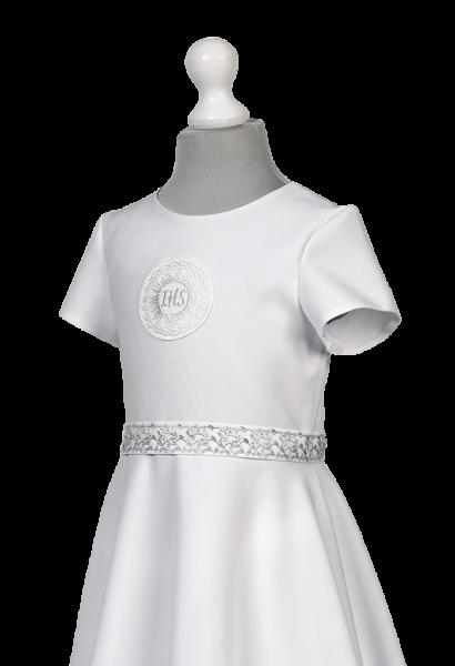 sukienka komunijna srebrna taśma