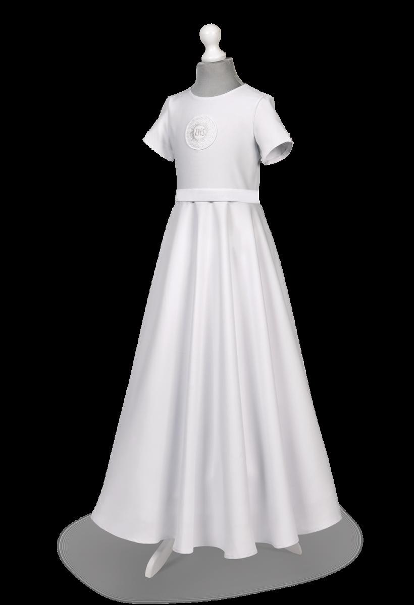 sukienka komunijna biała strecz