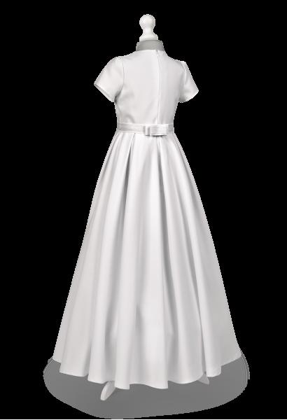 sukienka komunijna kontrafałdy srebrne zdobienie