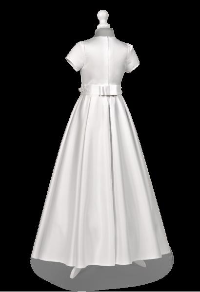 sukienka komunijna z satyny z kontrafałdami