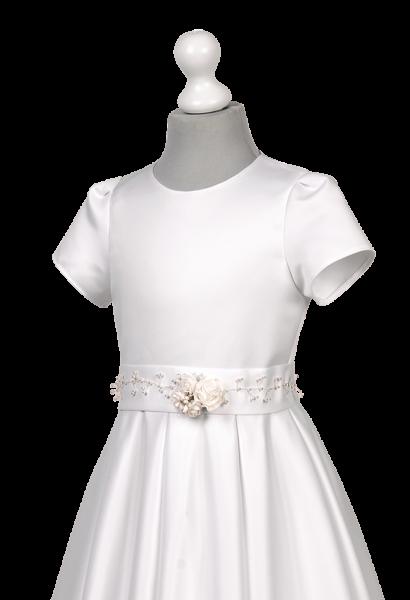 sukienka satynowa komunijna z ozdobą w pasie