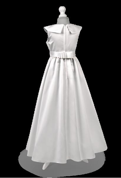 sukienka komunijna z satyny z eleganckim kołnierzem