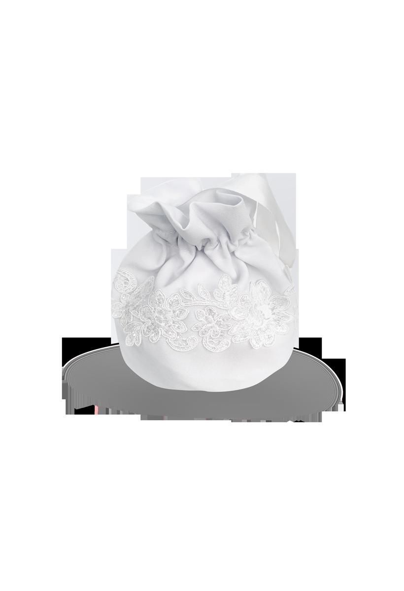 torebka komunijna w formie woreczka z taśmą kwiatową