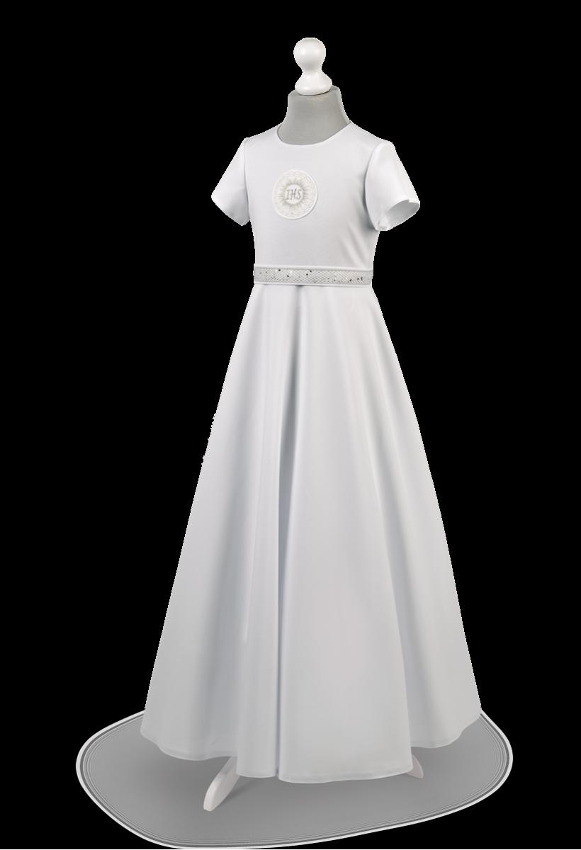 Sukienka komunijna ze srebrnym zdobieniem w pasie. Marta SR-025