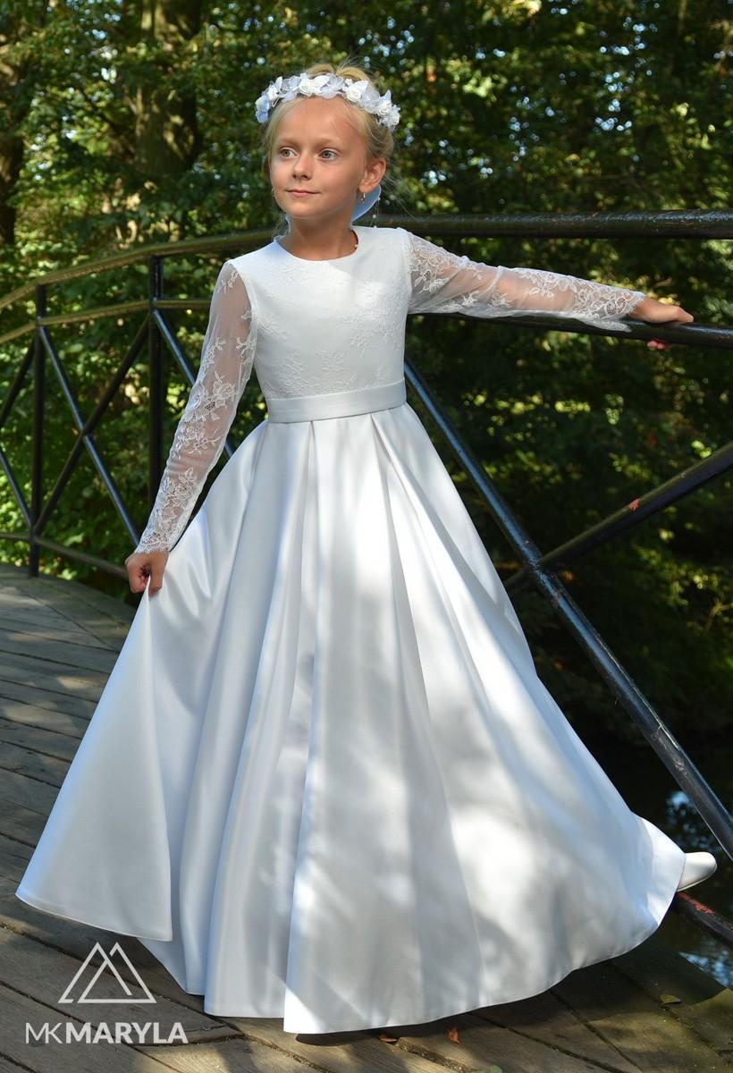 Satynowa sukienka z efektywną francuską koronką Elza BZ-000