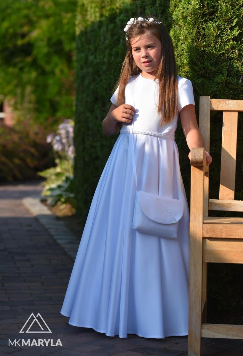 Satynowa sukienka komunijna z subtelnymi dodatkami Elza BI-090.