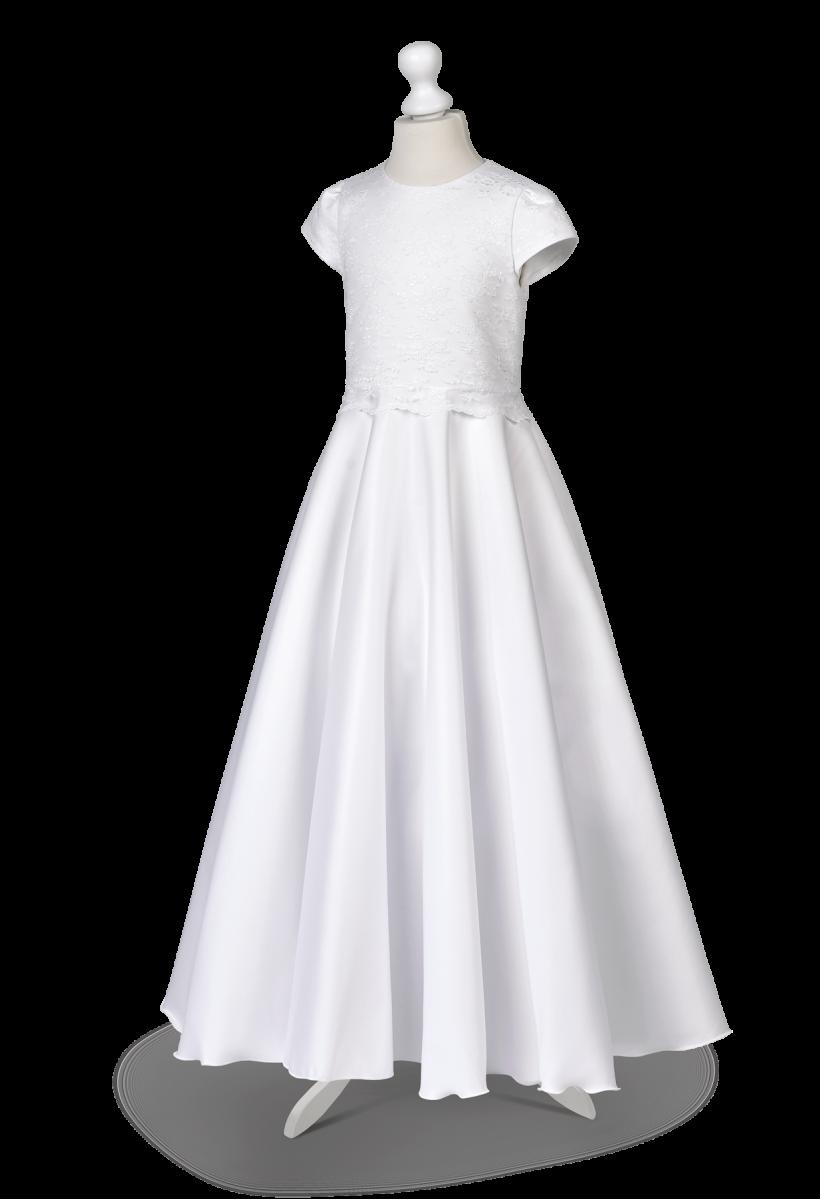 sukienka komunijna satynowa z koronką
