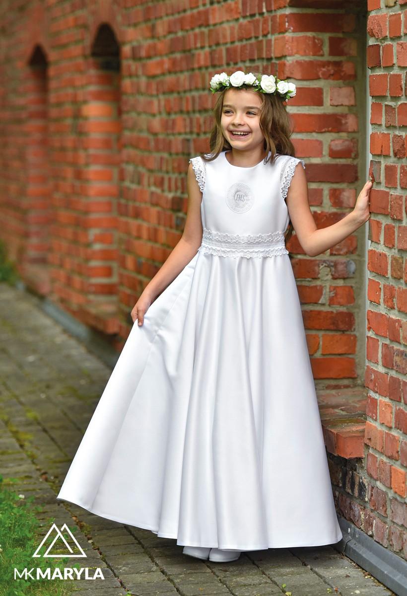 sukienka komunijna satynowa z taśmą ozdobną
