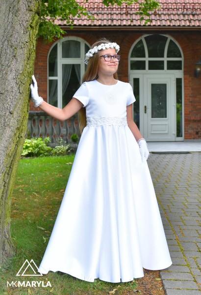 piękna sukienka komunijna z satyny z koła