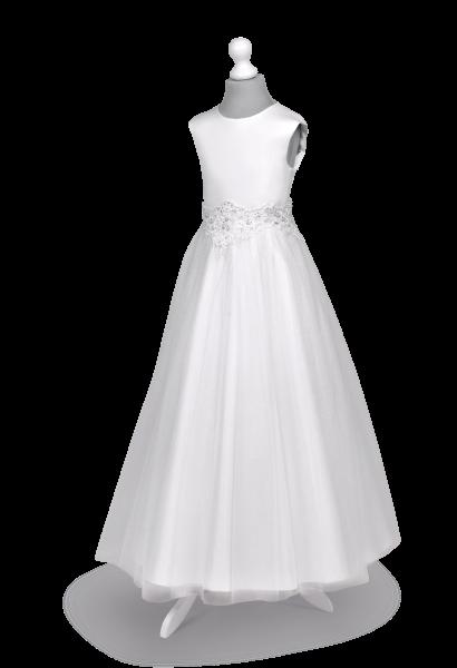 Sukienka  komunijna  princeska z efektowną aplikacją - Tosia BZ-140.