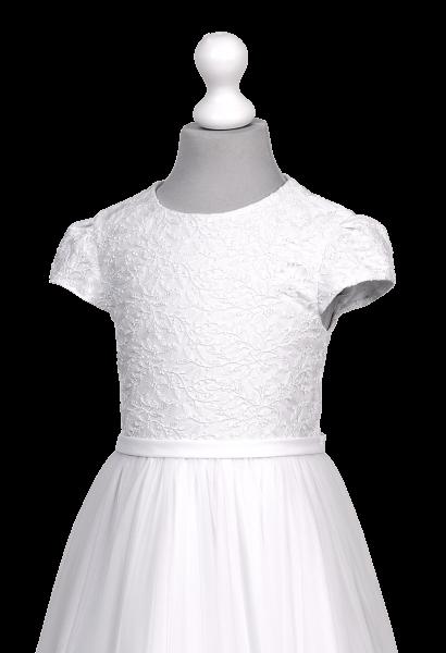 sukienka komunijna z koronką i szyfonem