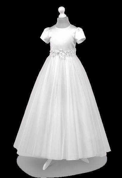 Bardzo zjawiskowa mieniąca spódnica w sukience do pierwszej komunii Tosia -BI-072