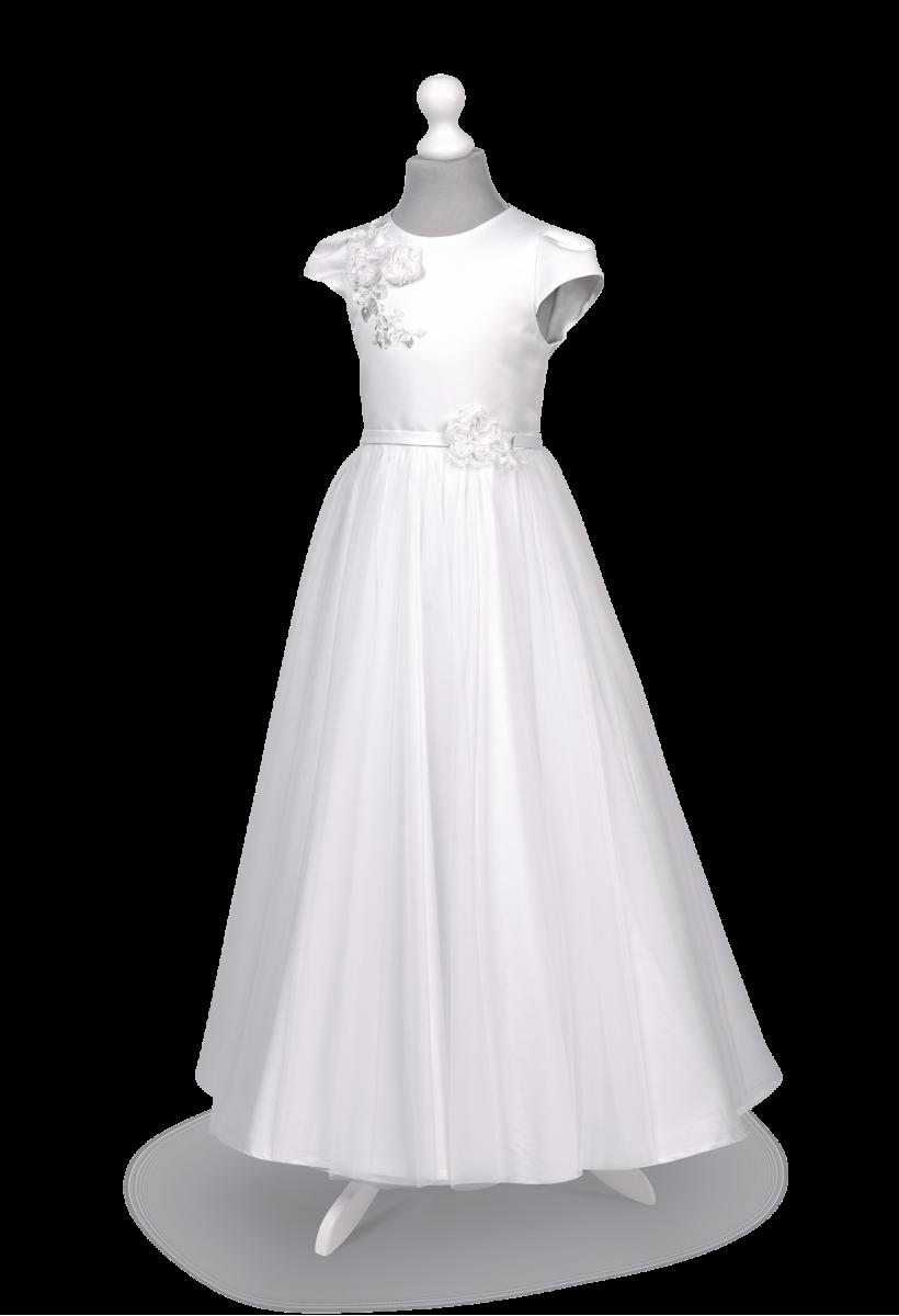 Efektowna sukienka komunijna z szyfonem Tosia BI-093.