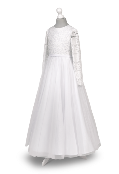 Sukienka komunijna z długim koronkowym rękawem Tosia BI-059
