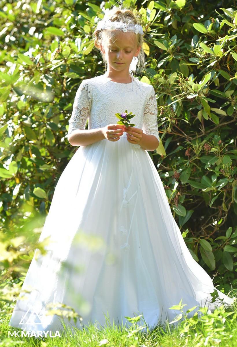 sukienka komunijna z szyfonem i koronką