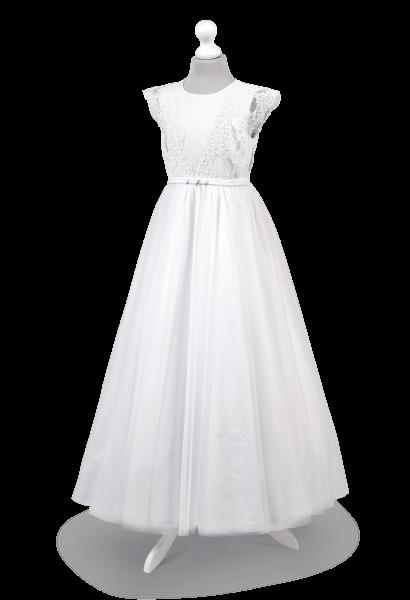 Piękna i wyjątkowa sukienka do komunii z koronką na ramionach Tosia BI-051