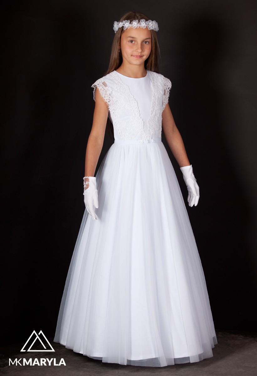 sukienka komunijna z szyfonem, zdobiona taśmą
