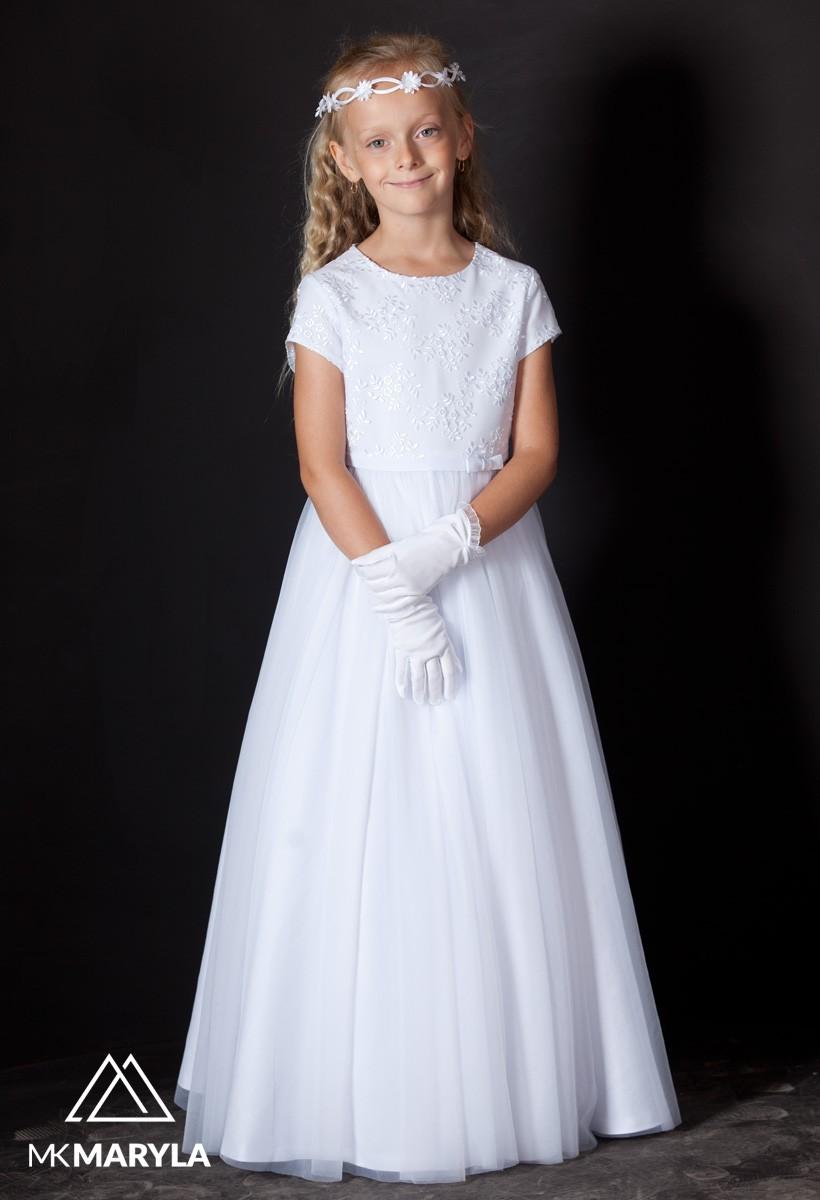 piękna sukienka komunijna z koronką