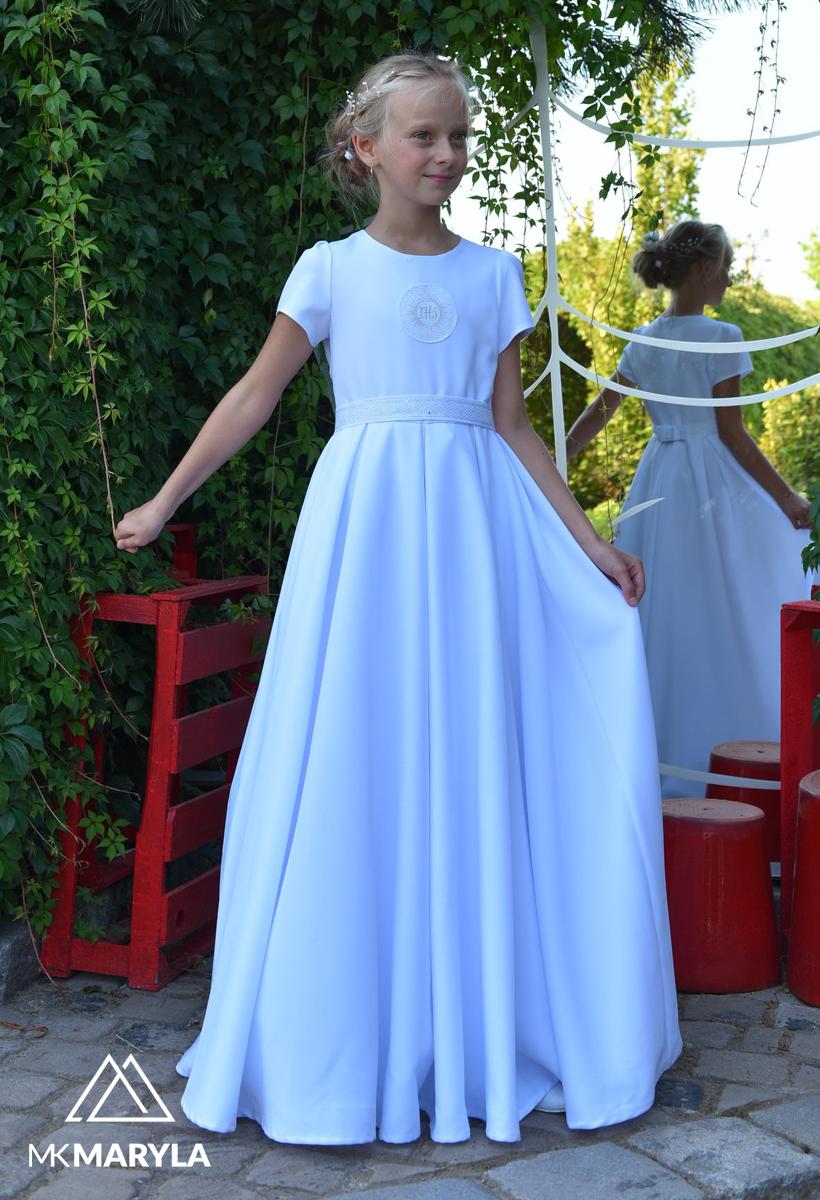 Sukienka komunijna srebrny IHS kontrafałdy