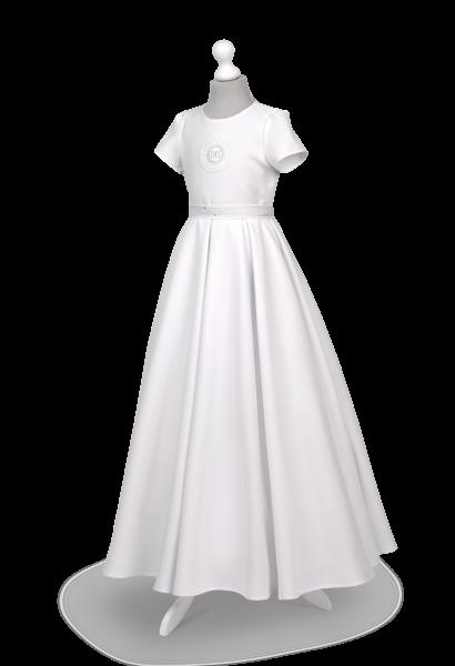 Sukienka komunijna ze srebrnymi dodatkami Elza SR-025.