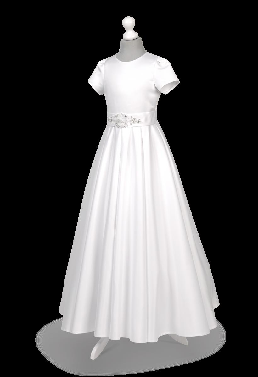Efektowna satynowa sukienka komunijna Elza BI-091.