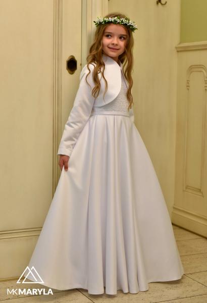 sukienka komunijna z kontrafałdami i koronką