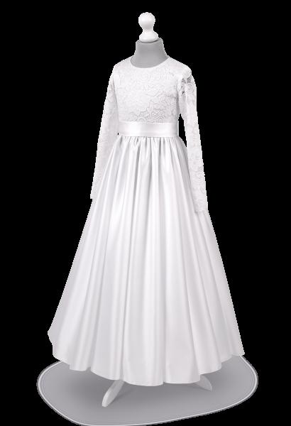 Satynowa sukienka do Pierwszej Komunii Świętej z marszczoną spódnicą - Anna SR-027
