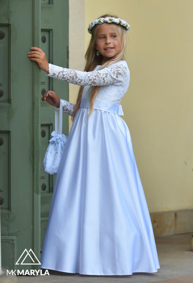 sukienka komunijna z satyny z koronką