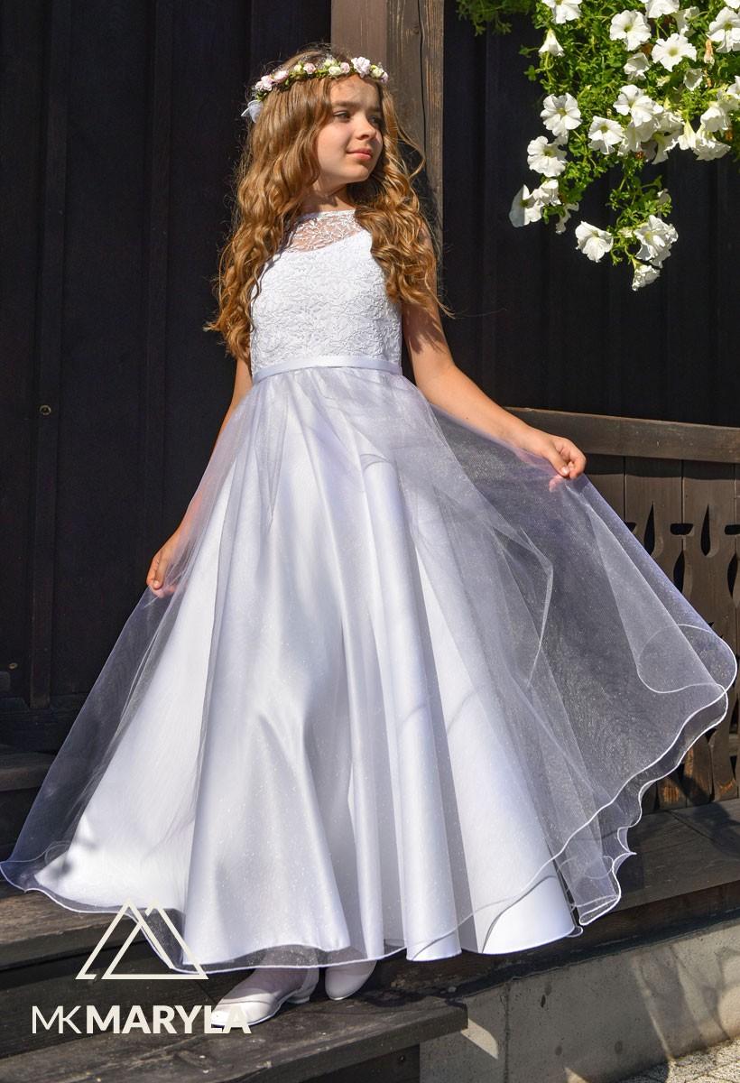sukienka komunijna z błyszczącym szyfonem