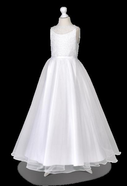 sukienka do komunii z satyny z koronką i szyfonem